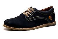 Туфли спортивные мужские LeaTher, натуральный нубук, синий, фото 1
