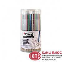 Axent Карандаш черный графитовый с резинкой HB металик 100шт в тубе арт.9002