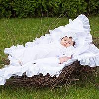 Крыжма  для крещения утепленная   от Miminobaby Винтажная белая