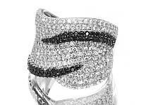 Серебряное родированное кольцо усыпка россыпь черными и белыми камнями цирконием, фианитом к00313 кв