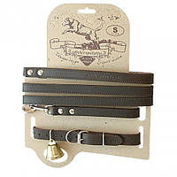 Кожаный ошейник с поводком для охотничьих собак. Акрополис(Acropolis)СКО-2