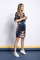 Синее шифоновое платье с коротким рукавом от Peppercorn в размере L