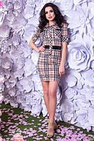 Клетчатое облегающее женское платье-рубашка рукав три четверти костюмная ткань с шерстяными волокнами