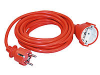 Шнур УШ-01РВ оранжевый с круглой вилкой и розеткой 2P+PE 3x1мм²/5 метров, IEK