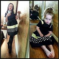 Family Look Парные платья мама и дочка Черные в горох