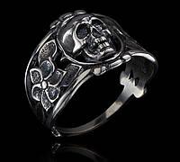 Серебряное байкерское мужское женское унисекс кольцо перстень для байкера Череп и Розы 18590 ст