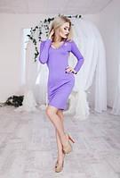 Трендовое облегающее женское платье по колено с брошью с глубоким вырезом декольте рукав длинный трикотаж