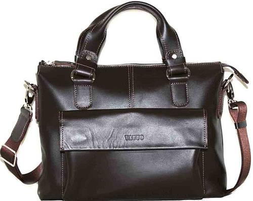 Мужская коричневая гладкая сумка из высококачественной натуральной кожи VATTO MK20Kaz400