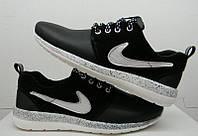 Кроссовки женские Nike Roshe Run кожа натуральная черные с белым NI0068