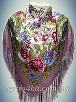 Шерстяной платок Весенний сад темно- розовый