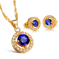 """Комплект позолоченный """"Blue diamond"""""""