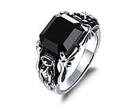 Перстень мужской Кристалл чёрный с драконами