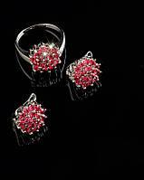 Кольцо и серьги с натуральными камнями фианита