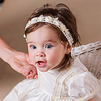 Детская повязка на голову Винтажная от Miminobaby кремовая 40-44 см