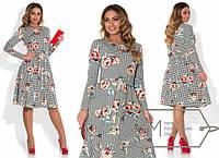 Женское батальное платье с 3D-принтом и длинными рукавами