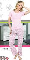 Пижама женская однотонная со штанами в цветочек 12224