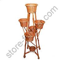 Подставка-кашпо для цветов, плетеная из лозы, 6 горшков