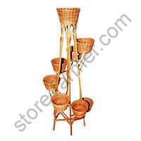 Подставка-кашпо для цветов, плетеная из лозы, 8 горшков