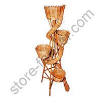 Подставка-кашпо для цветов «Змея», плетеная из лозы, 5 горшков