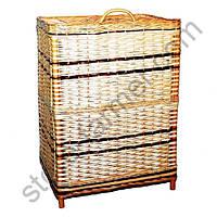 Корзина из лозы для белья средняя, прямоугольная, 68х40х50