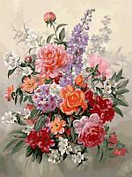 Картины по номерам 30×40 см. Букет в пастельных тонах худ. Альберт Вильямс