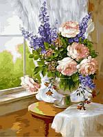 Картины по номерам 30×40 см. Нежный букет в вазе худ. Фасани Пинторе