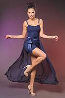 Короткое гипюровое платье на шлейках со съемной шифоновой юбкой в пол