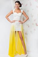 Нарядное белое короткое гипюровое платье со съемной цветной юбкой в пол из шифона