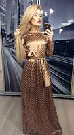 Женское длинное платье атлас в горошек