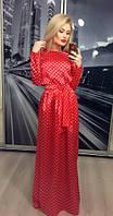 Женское платье с длинным рукавом атлас в горошек