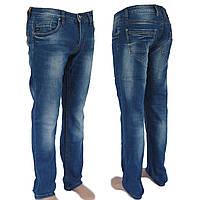 Джинсы мужские голубые с потертостью прямые