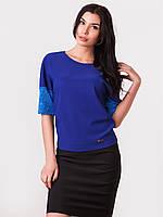 Красивая женская блузка с гипюровыми вставками р.44-46, 48-50, 52-54