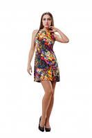 Стильное яркое короткое платье Сеам