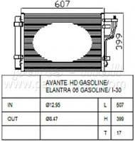Конденсатор кондиционера Hyundai Elantra (производство Parts-Mall ), код запчасти: PXNCA-082