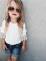 Эксклюзивная блуза с ажуром детская креп шифон
