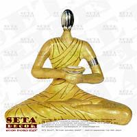 """Миниатюрная скульптура, подсвечник """"Медитирующий монах"""" каменная крошка (статуэтка, фигурка)."""