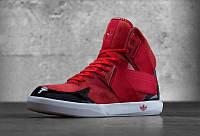 Кроссовки мужские адидас  C10 красные с черным в замше