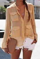 Шифоновая блузка 4 кармана