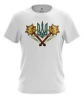 Белая футболка в национальном стиле ГЕРБ С БУЛАВАМИ