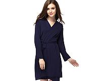 Красивый тёмно-синий женский халат