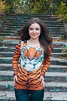 Блузка-сетка с тигровыми полосами и тигром 3D