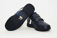 Кожаные черные подростковые кроссовки  на мальчика