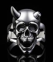 Серебряное байкерское мужское женское унисекс кольцо перстень для байкера череп Усмешка Дьявола 18270 ст