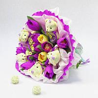 Букет из игрушек Мишки с тюльпанами фиолетовый