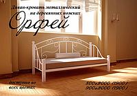 Диван-кровать Орфей из металла на деревянных ножках двуспальная