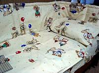 Комплект постельного белья для новорожденных+ защита в детскую кроватку