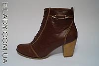 Коричневые ботиночки из натуральной кожи на маленьком каблуке