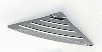 Угловая полочка для ванной комнаты металическая с небольшим бортиком