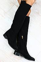 Стильные женские сапоги из натуральной замши черные на низком каблуке.