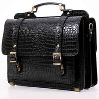 Мужской кожаный портфель Manufatto СПС — 4 Black Croc